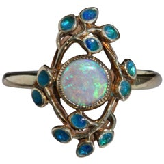 Jessie M. King Liberty & Co Gold Opal and Enamel Ring