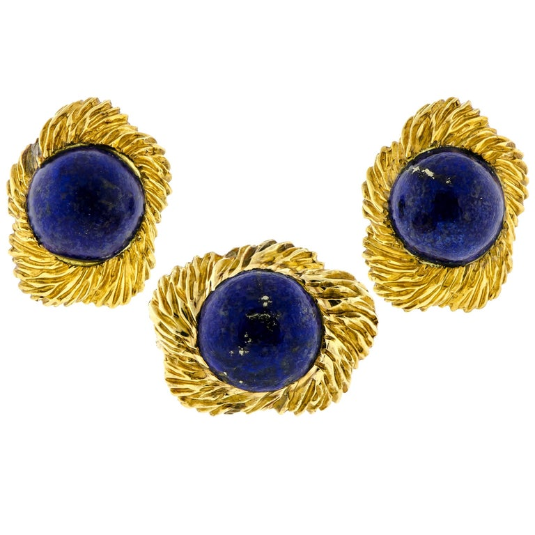 Mid-Century Lapis and 18 Karat Yellow Gold Ring and Earring Set by Ruser