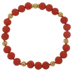 Adria de Haume Coral Gold Necklace