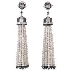Diamond Tassel Earring in 18 Karat White Gold