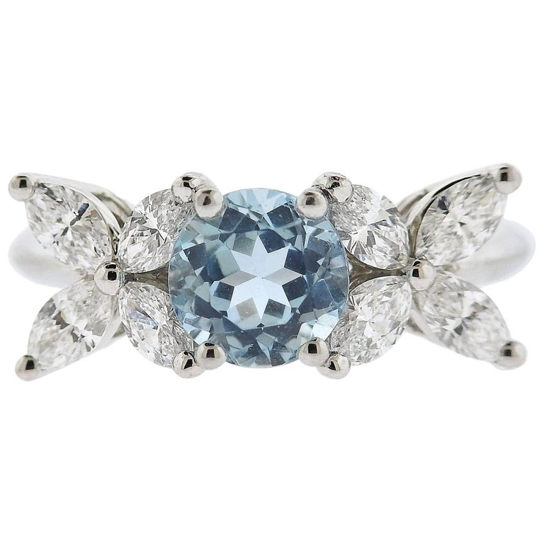 Tiffany & Co. Victoria Aquamarine Diamond Platinum Ring