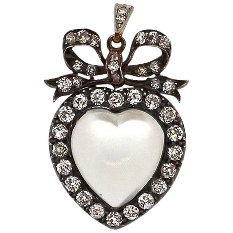 19th Century Silver Topped Gold Moonstone Diamond Heart Pendant
