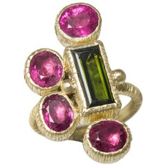 Rubelite Tourmaline  Green Tourmaline 18 Karat Green Gold Cocktail Ring