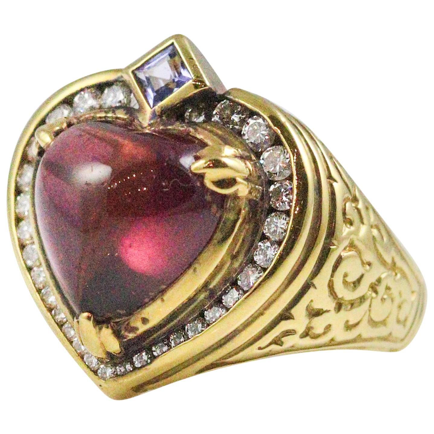 Seidengang 18 Karat Yellow Gold Heart Shaped Rubellite Tourmaline Ring