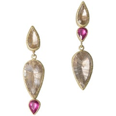Rutilated Quartz Rubelite Garnet Gold Silver Clipped Drop Dangle Earrings