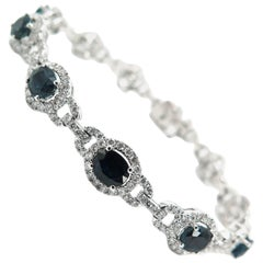 Oval Sapphire and Diamond White Gold Bracelet