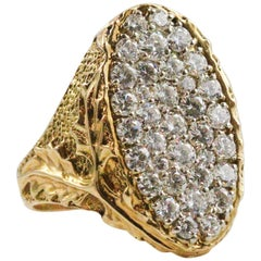 Owned by Music Legend Issac Hayes, Modernist 18 Karat Gold and Diamond Ring