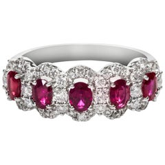Ruby Diamond Halo Gold Five-Stone Ring