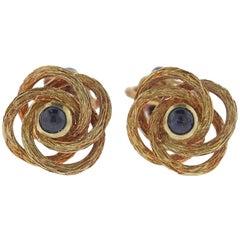 Midcentury Sapphire Gold Cufflinks