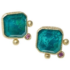 Chrysocolla Doublet and Sapphires Colourful Handmade Stud Earrings