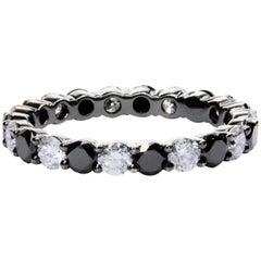 Alternating Black and White Diamond Eternity Wedding Band