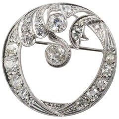 Art Deco White Gold and Diamond Circle Brooch