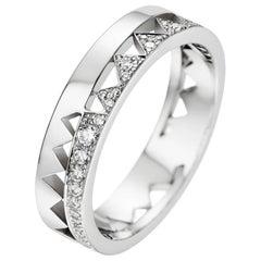 Akillis Capture Me Band Ring 18 Karat White Gold Half-Set White Diamonds for Him