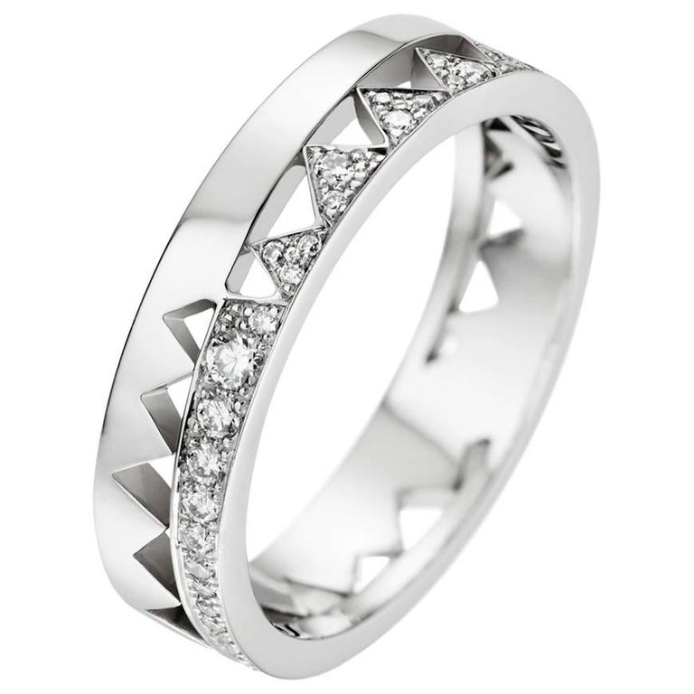 Akillis Capture Me Band Ring 18 Karat White Gold Half-Set White Diamonds for Him For Sale