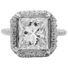 GIA Certified 2.53 Carat Princess Cut Diamond Pave Frame Halo Platinum Ring