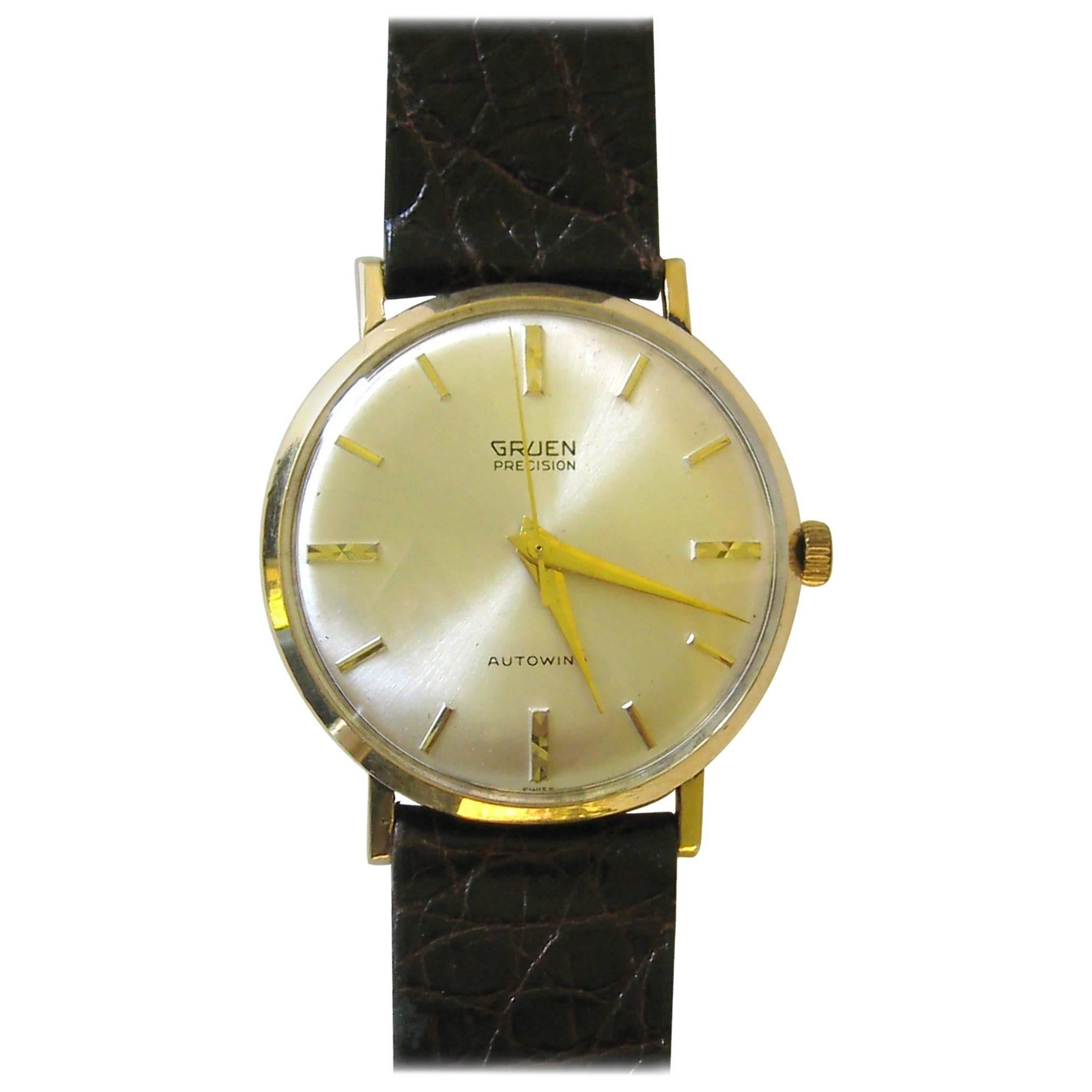 Gruen 18 Karat Yellow Gold Precision Automatic Wristwatch, 1960s