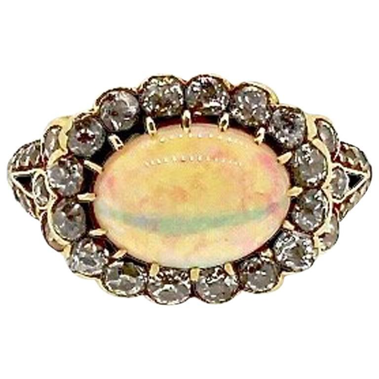 Antique Late 19th Century Yellow Gold Diamond Opal Cluster Ring