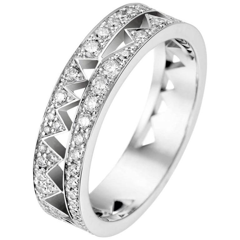 Akillis Capture Me Band Ring 18 Karat White Gold Full Set with White Diamonds For Sale