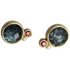 Hematite Doublet Red Sapphire Gold Stud Earrings