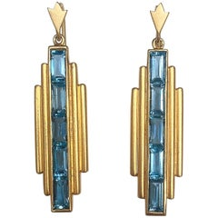 Lauren Harper London Blue Topaz, 18 Karat Gold Deco Drop Earrings