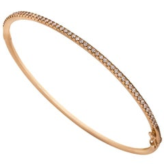 Round Cut Diamond Rose Gold Bangle Bracelet