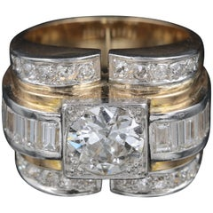 Gold, Platinum and Diamonds Tank Ring, French Made
