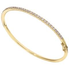 1.10 Carat Total Round Cut Diamond Yellow Gold Bangle Bracelet