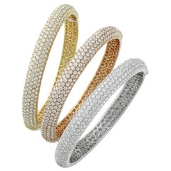 Set of Three Diamond 18 Karat Three-Tone Gold Bangle Bracelets