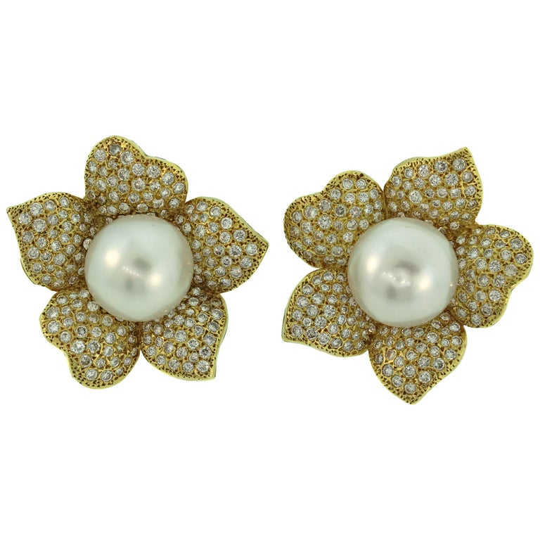 South Sea Pearl Gold and Diamond Flower Earrings