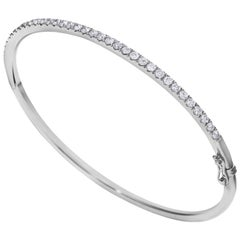 1.10 Carat Total Round Cut Diamond White Gold Bangle Bracelet