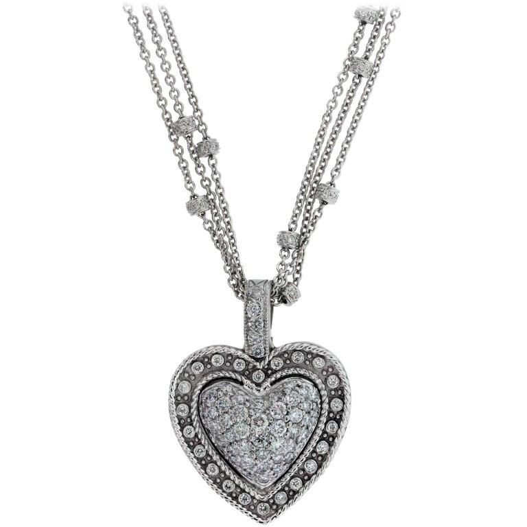 White Gold and Diamond Heart Pendant with Diamond Chain