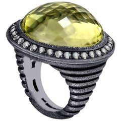 Alex Soldier Diamond Lemon Citrine Sterling Silver Oxidized Ring One of a Kind