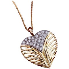 Daou Diamond, White & Yellow Gold Heart Pendant Necklace with Leaf Motif Detail