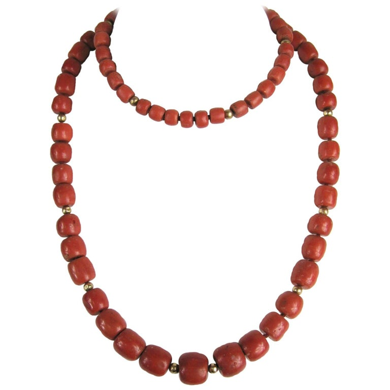 Stunning Early Natural Mediterranean GIA Red Coral Gold Beaded Necklace