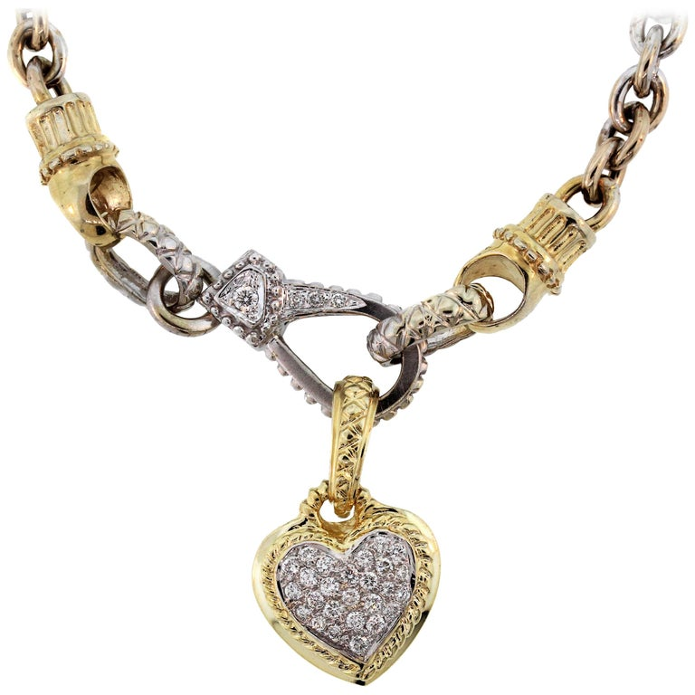 Two-Tone Gold and Diamond Heart Pendant Necklace