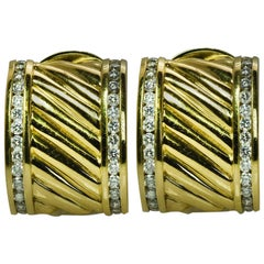 David Yurman Gold and Diamond Ear Clips
