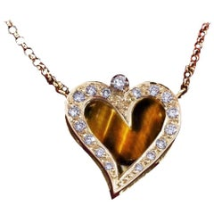 Daou Diamond, Tigers Eye and Yellow Gold Happy Little Heart Pendant Necklace