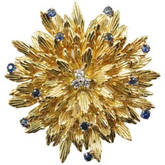 Modernist Tiffany & Co. 18 Karat Yellow Gold Sapphire and Diamond Flower Brooch