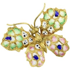 Retro Art Nouveau Revival 18 Karat Gold Plique-à-Jour Enamel Butterfly Brooch
