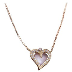 Daou Diamond, Opal and Yellow Gold Happy Little Heart Pendant Necklace