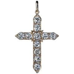 Antique Russian 4.80 Carat Diamond Gold Cross Pendant