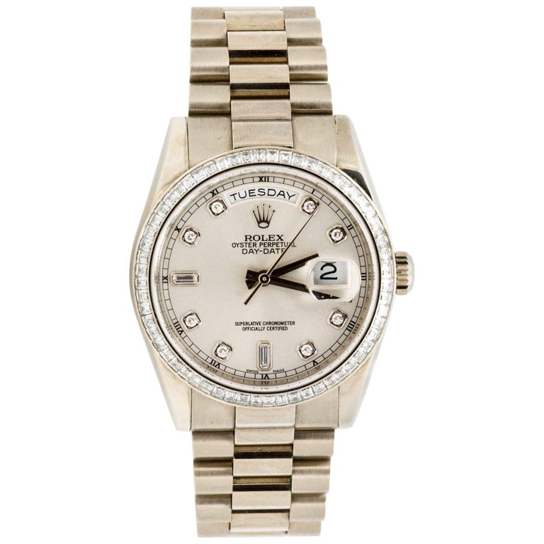 Rolex White Gold Diamond Presidential Day Date Automatic Wristwatch For Sale