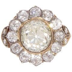 Victorian 2.77 Carat Old European Cut Diamond Gold Cluster Ring