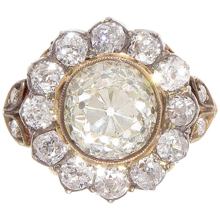 Victorian 2.77 Carat Old European Cut Diamond Gold Cluster Ring 1