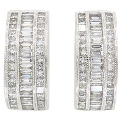 18 Karat White Gold 3.25 Carat Diamond Earrings