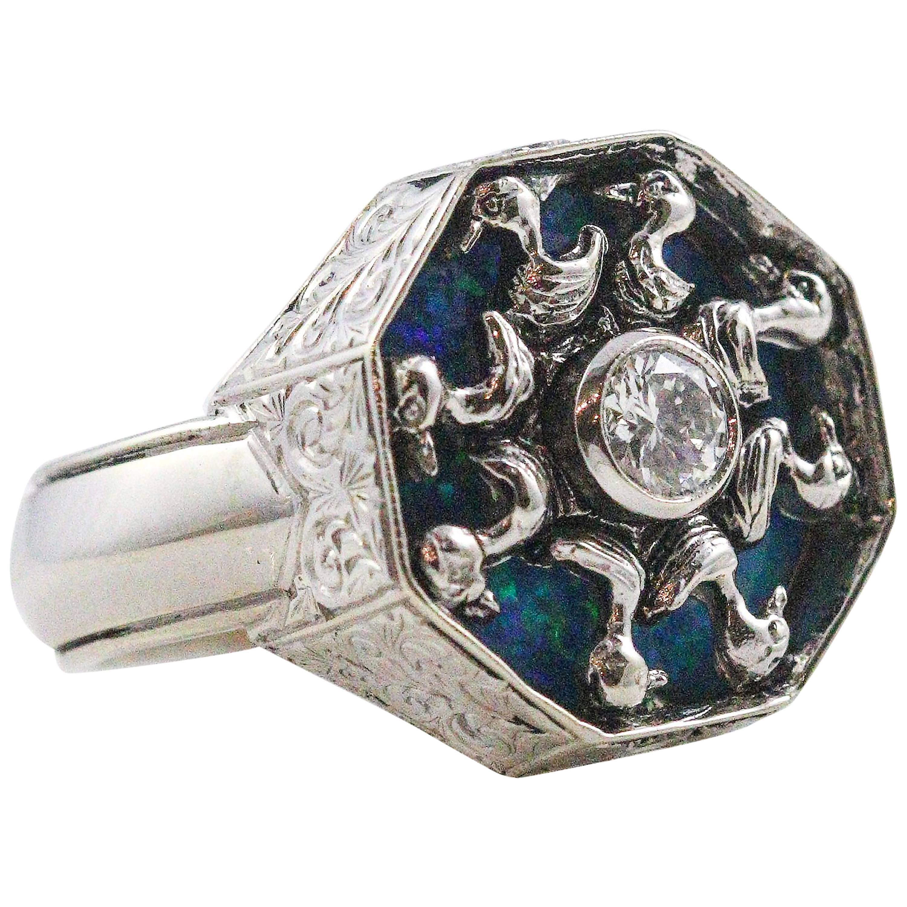 14 Karat White Gold and Diamond Ring with Opal Backing and Duck Design