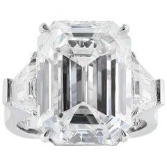 15.13 Carat GIA I VS2 Emerald Cut Diamond and Platinum Ring