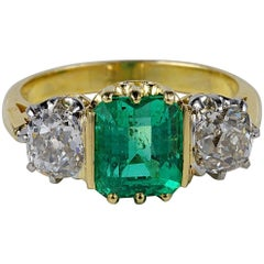 Victorian 2.90 Carat Natural Colombian Emerald 1.80 Ct Diamond Rare Trilogy Ring