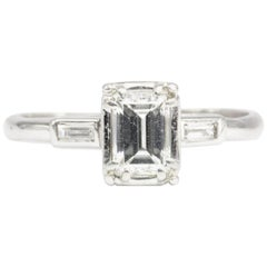 Art Deco White Gold .52 Carat Emerald Cut Engagement Ring