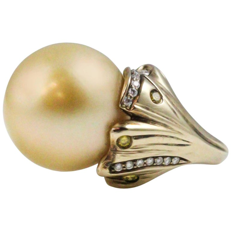 Golden South Sea Pearl White and Yellow Diamond Ring For Sale at ...